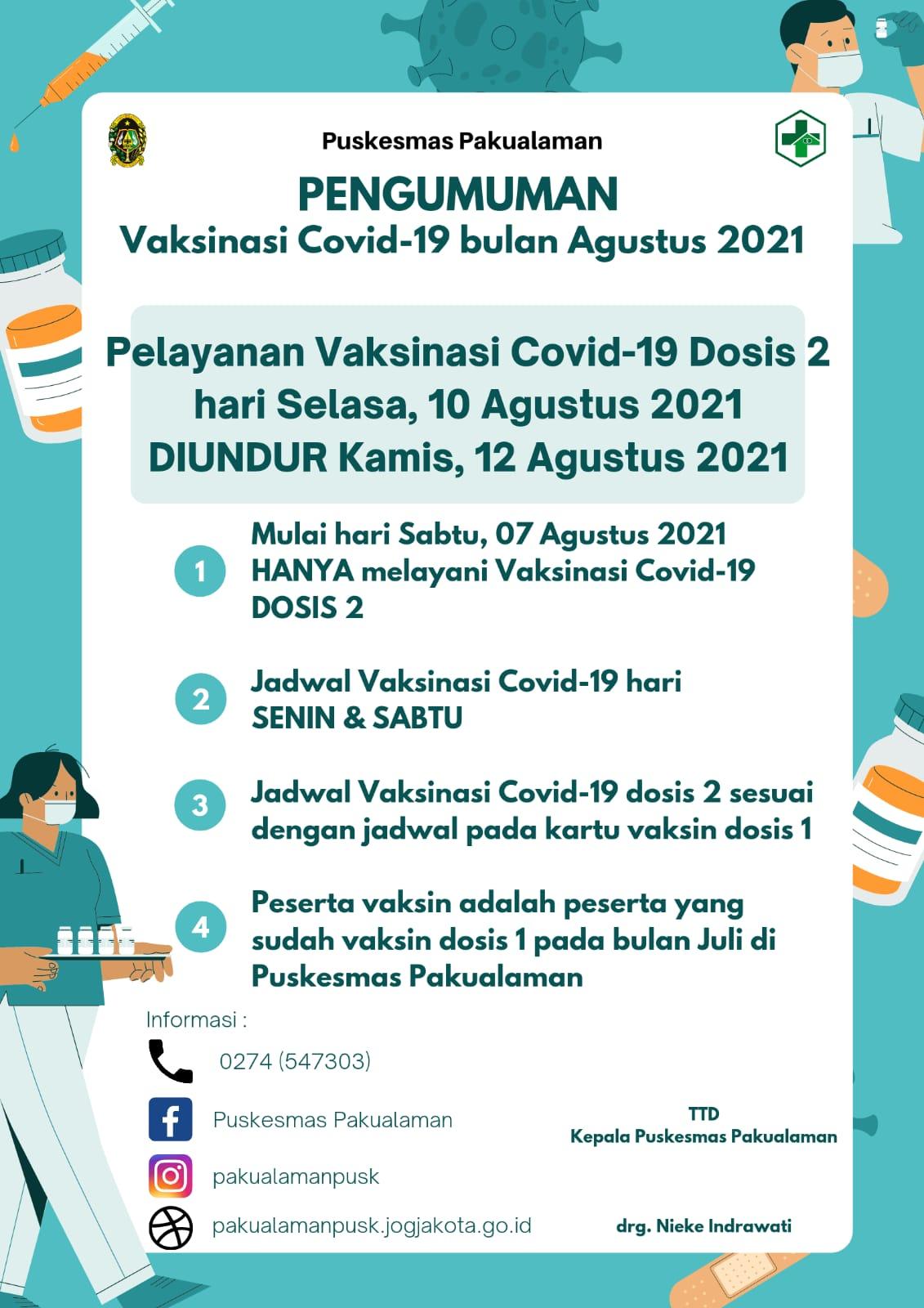 PENGUMUMAN VAKSINASI COVID-19 DOSIS 2 SINOVAC